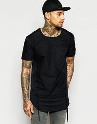 Длинная футболка с драпировкой на кармане Black Kaviar - Черный