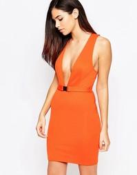 Платье с глубоким декольте и ремешком Oh My Love - Оранжевый