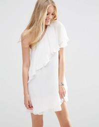 Платье на одно плечо с рюшами Vila - Снежно-белый