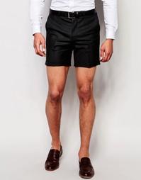 Эластичные ультразауженные шорты строгого кроя с отворотами Noose & Mo