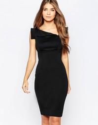 Платье-футляр миди с асимметричной горловиной City Goddess - Черный
