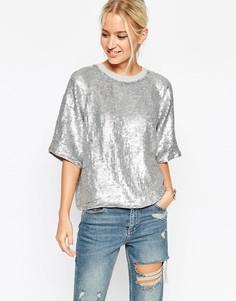 Блестящая серебристая футболка с пайетками ASOS - Серебряный