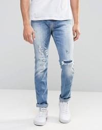 Светлые рваные джинсы слим Replay Jeans Anbass - Синий