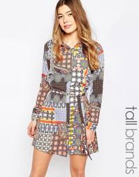 Платье-рубашка с принтом пейсли в стиле пэтчворк Influence Tall