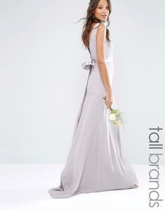 Атласное платье макси с бантом на спине TFNC Tall WEDDING - Лаванда