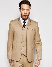 Пиджак суперзауженного кроя на четырех пуговицах ASOS - Кэмел