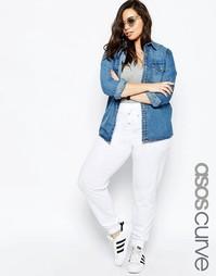Трикотажные штаны с завязками ASOS CURVE - Белый