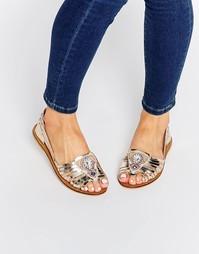 Кожаные декорированные туфли ASOS JULIEN - Серебряный