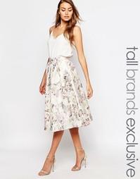 Жаккардовая юбка миди с цветочным принтом True Decadence Tall - Мульти