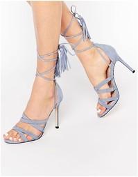 Замшевые сандалии на каблуке со шнуровкой Faith - Бледно-синий