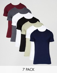 Комплект из Neck 7 футболок слим с круглым вырезом ASOS, СКИДКА 24%