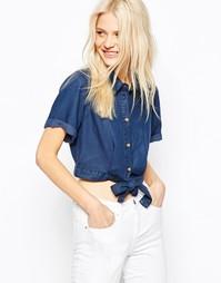 Укороченная джинсовая рубашка с завязкой спереди ASOS - Синий