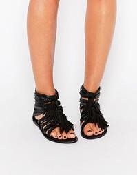 Кожаные босоножки с ремешками и бахромой Boohoo - Черный