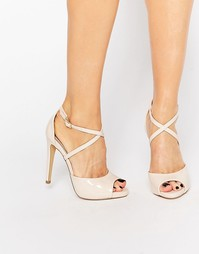 Телесные лакированные сандалии на каблуке Lipsy Vernetta - Телесный