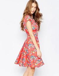 Чайное платье Trollied Dolly Tasty - Красныйкрупныйцветочный