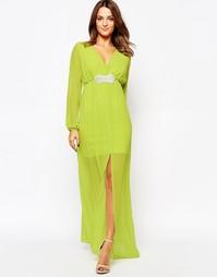 Платье макси с декорированной талией Amy Childs Jocelyn - Зеленый