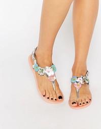 Серебристые шлепанцы с 3D‑цветами Miss KG Dream - Серебряный