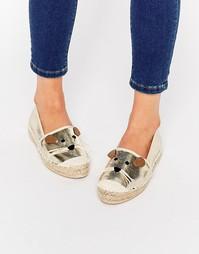 Туфли на плоской подошве с золотыми мышками Miss KG Dayton - Золотой