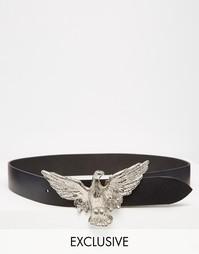 Узкий кожаный ремень в стиле вестерн с пряжкой в виде орла Retro Luxe