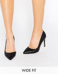 Черные широкие туфли-лодочки с вырезами Faith - Черный полиуретан