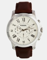 Часы с хронографом и коричневым кожаным ремешком Fossil Grant FS4735