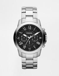 Часы с хронографом из нержавеющей стали Fossil Grant FS4736