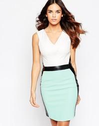 Платье миди с V‑образным вырезом и контрастными вставками Hybrid