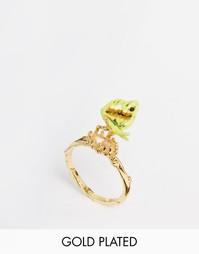 Кольцо с подвеской-бабочкой и камнем Les Neriedes - Зеленый