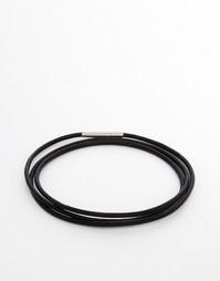 Узкий кожаный браслет в несколько оборотов Seven London - Черный