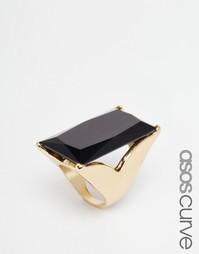 Кольцо с прямоугольным камнем ASOS CURVE - Черный