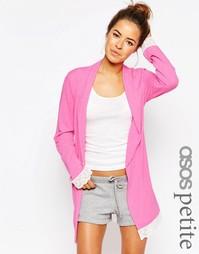 Трикотажный халат с кружевной отделкой ASOS PETITE - Розовый