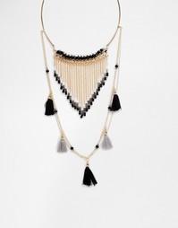 Ожерелье в два ряда с кисточками Ashiana