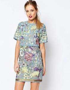 Платье-футляр мини с вышивкой и отделкой ASOS SALON Premium - Синий