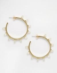 Серьги-кольца с отделкой из кристаллов House Of Harlow - Золотистый