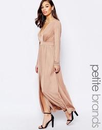 Платье макси с разрезом до бедра Lipstick Boutique Petite - Телесный