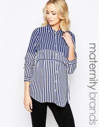Тканая рубашка в полоску для беременных Mamalicious - Мульти Mama.Licious