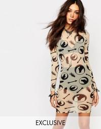 Облегающее платье со сплошным принтом Noisy May X Bloody Noisy - Белый