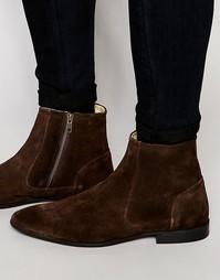 Коричневые замшевые ботинки на молнии ASOS - Коричневый