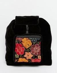 Бархатный рюкзак ручной работы с цветочной вышивкой Hiptipico - Черный