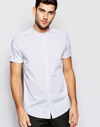Серая фактурная рубашка с воротником с застежкой на пуговицах ASOS