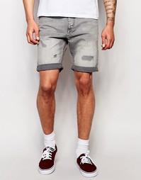 Джинсовые шорты прямого кроя Jack & Jones - Выбеленный серый