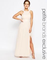 Платье макси с высокой горловиной и цветочной аппликацией Little Miss