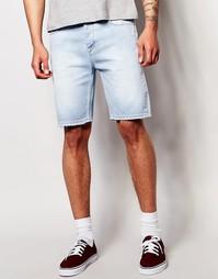 Эластичные джинсовые шорты слим с потертостями ASOS - Выбеленный синий