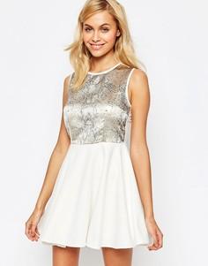 Короткое приталенное платье с пайетками на топе Madam Rage - Кремовый