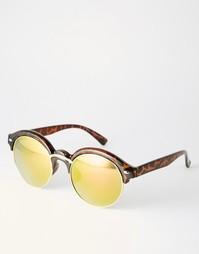 Солнцезащитные очки в коричневой черепаховой оправе с желтыми стеклами 7X