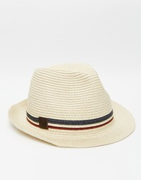 Соломенная шляпа-трилби Fred Perry - Бежевый