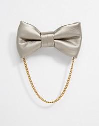 Кожаный галстук-бабочка ASOS - Серебряный