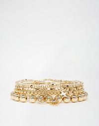 Набор из броских золотистых браслетов Orelia - Золотой