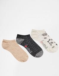 3 пары спортивных носков с серыми птицами Lovestruck