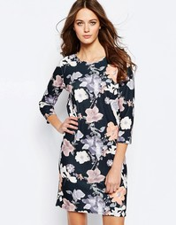 Цельнокройное платье с цветочным принтом Ichi Lemana - Черный